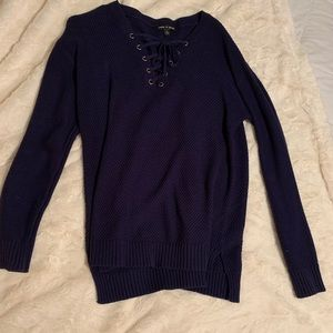 Navy sweater with tie detail